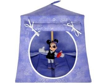 Toy Pop Up Tent, Sleeping Bags, light purple, sparkling star print fabric for dolls, stuffed animals