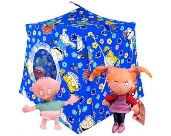 Toy Pop Up Tent, Sleeping Bags, blue, Rugrat print fabric