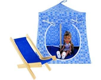 Toy Pop Up Tent, Sleeping Bags, light blue, flower print fabric for dolls, stuffed animals