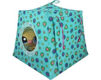 Toy Pop Up Tent, Sleeping Bags, aquamarine, heart & flower print fabric
