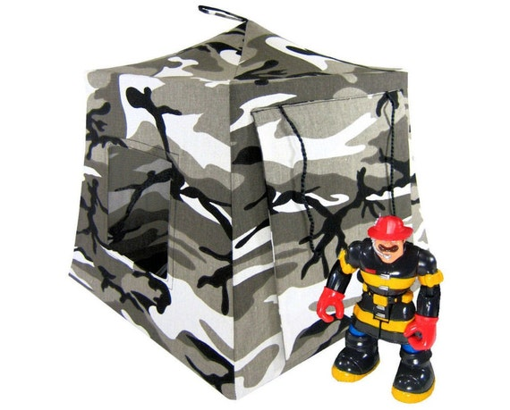 Toy Pop Up Tent, Sleeping Bags, black, grey & white camouflage print fabric