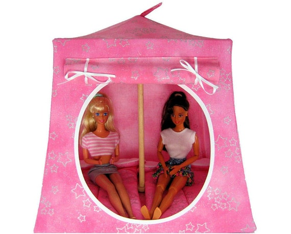 Toy Pop Up Tent, Sleeping Bags, light pink, silver sparkling star print