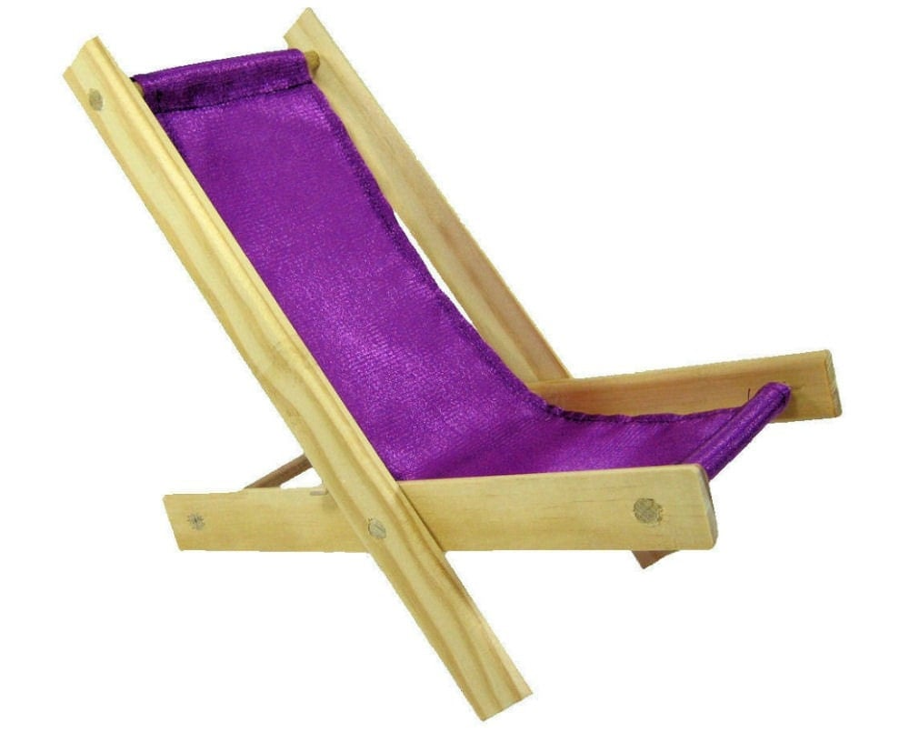 Toy Wooden Folding Beach Chair bright purple fabric