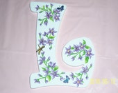 Purple floral wood L initial - swarovski crystals