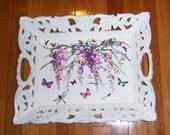 Ornate Wisteria Vine wood tray - glitter accents