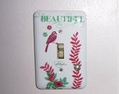 Beautiful bird floral steel single light switch cover - swarovski crystals