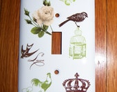 Parisian themed steel single light switch cover