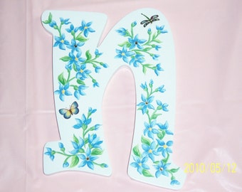 Blue Floral Wood N Initial, Baby Gift, Nursery, Kids Room, Butterfly, Dragonfly, Swarovski Crystals