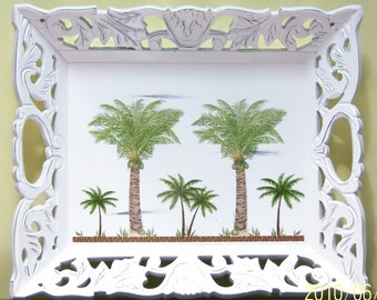 Ornate palm tree wood serving tray