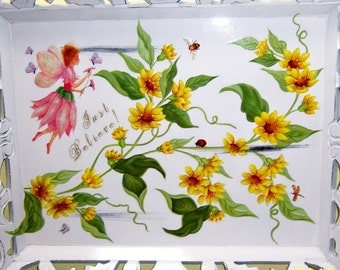 Ornate yellow floral - (Just Believe) Fairy - wood tray