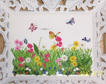 Ornate field of flowers wood tray - swarovski crystals