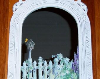 Ornate welcome to my garden wood mirror - swarovski crystals