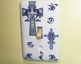 Blue Crosses steel single light switch cover