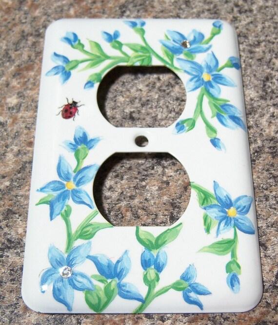 Blue floral steel outlet cover - swarovski crystals