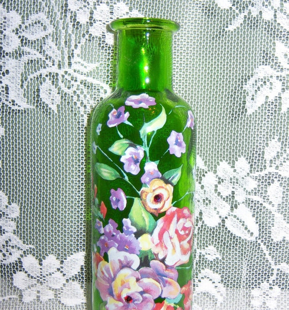 Reserved for LeeAnn - Green vase - multi floral - swarovski crystals