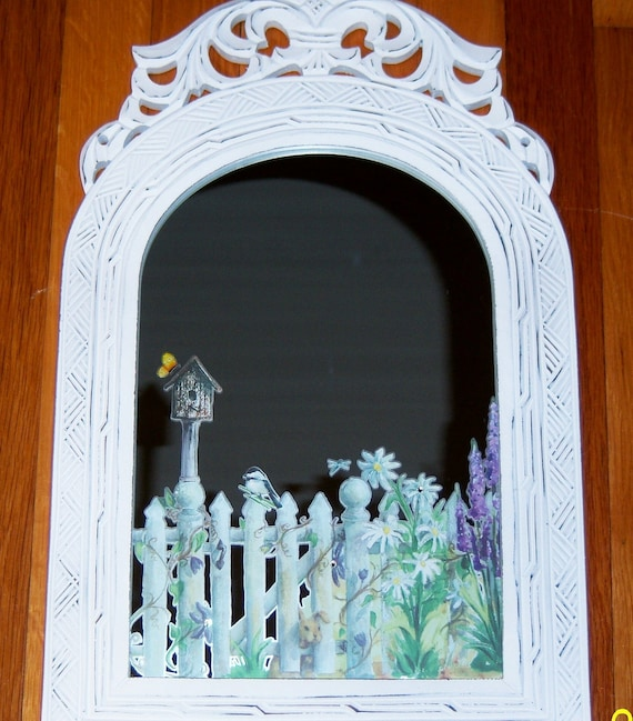 Ornate welcome to my garden wood mirror - swarovski crystals