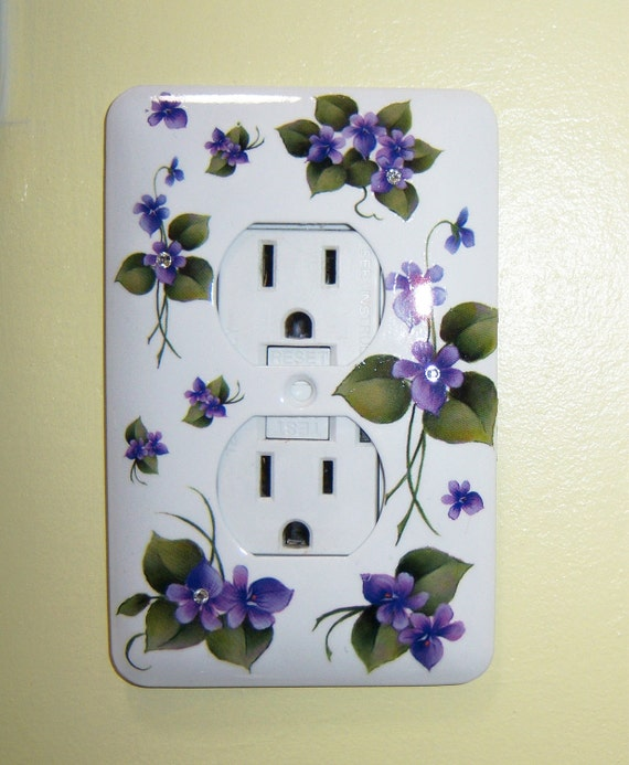 Purple violets steel single outlet cover - clear swarovski crystals