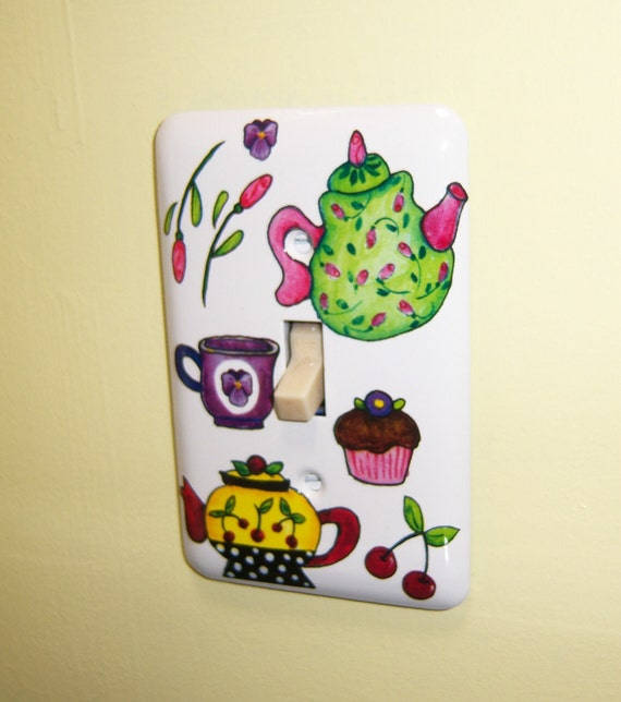 Tea Pots steel single lightswitch cover