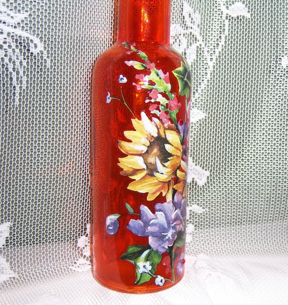 Orange vase - multi floral - swarovski crystals