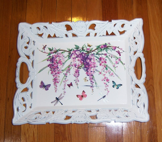 Ornate Wisteria Vine wood tray - glitter accents