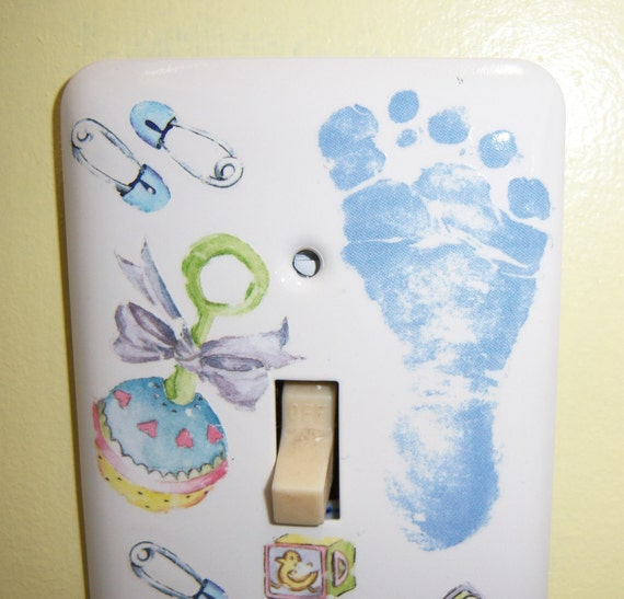 Baby Boy themed steel single light switch cover