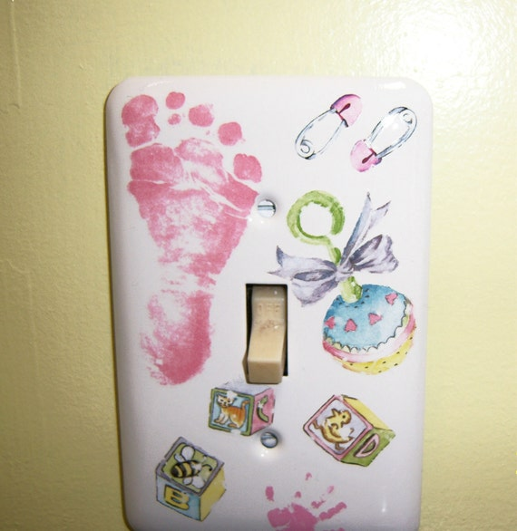 Baby Girl themed steel single light switch cover