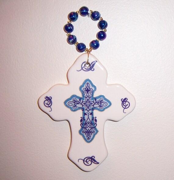 Ceramic cross plaque - ornate blue cross