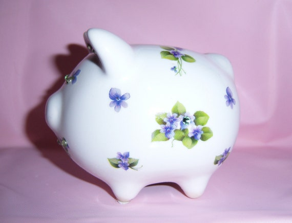 Purple mini piggy bank swarovski crystals by for Mini piggy banks