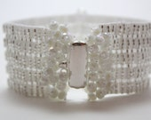 Hollywood Glamour White Tila Bead Cuff Bracelet with Swarovski Crystal and Seed Beads
