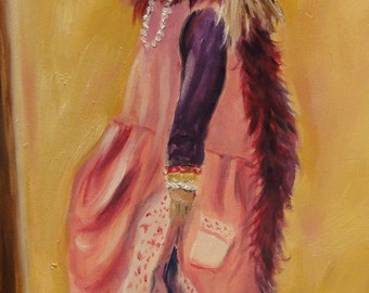 Dress Up 5 x 7 Oil Painting