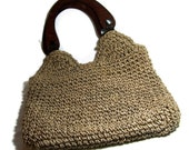 Vintage Grass Tote Natural Shopping Bag Retro Urban Eco Chic