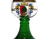 Vintage Glass Chalice Green Goblet Augsburg Germany Souvenir