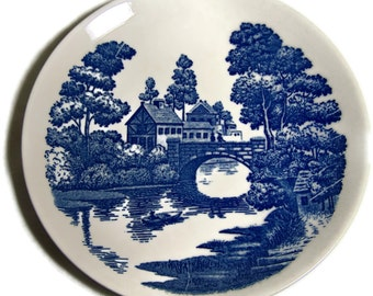 Vintage China Decor Plate Blue and White Riverview Riparian Shabby Chic