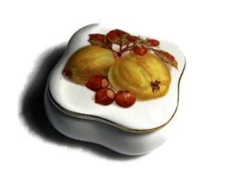 Vintage Trinket Box Fruit Decor Porcelain Box Small China Box