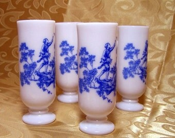 Vintage Pedestal Espresso Mugs Blue and White Romantic Coffee Break