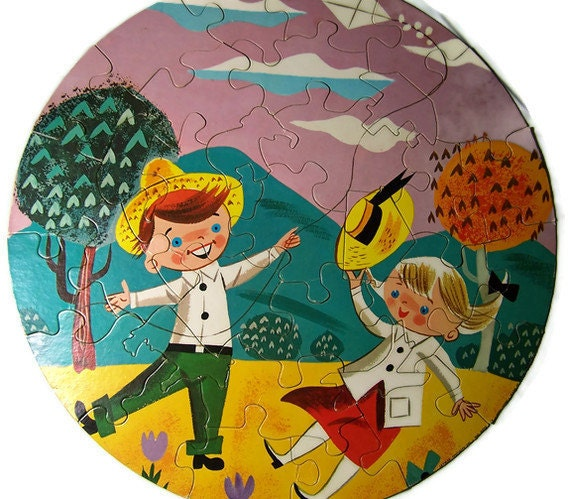 Mid Century Puzzle Go Fly a Kite Whimsical Retro Nursery Decor 1950s Era Toys