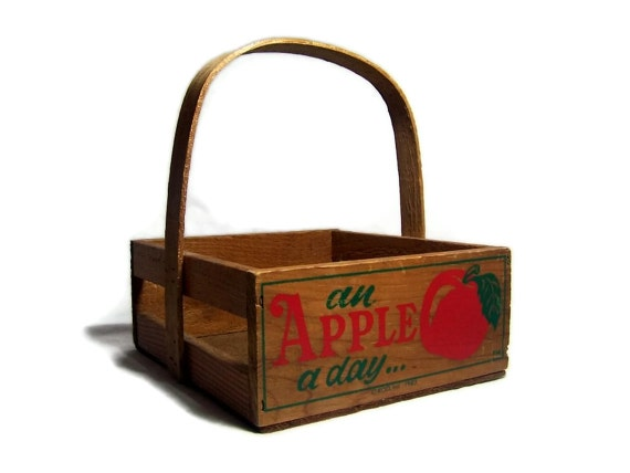 Vintage wooden crate apple box an apple a day by for Vintage apple boxes