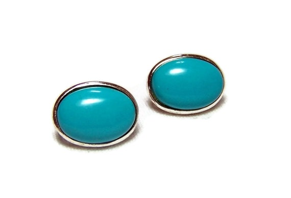 Vintage Earrings Turquoise Buttons Glass Sterling Silver  Clip on Ovals
