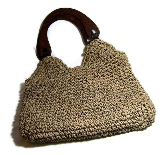 Vintage Grass Tote Natural Shopping Bag Retro Urban Eco Chic