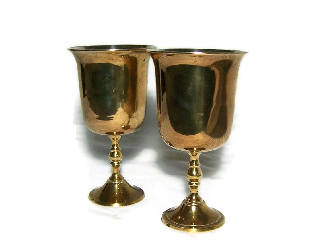 vintage brass wine goblets glasses bohemian decor. Black Bedroom Furniture Sets. Home Design Ideas