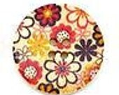 6 pcs. Flower Wood Painting Sewing Buttons 30mm B10208