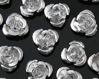 100 pcs. silver Flower Aluminium Jewelry cabochons findings , 6mm