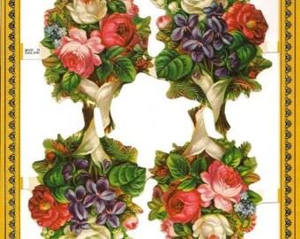 Vintage victorian styls die cut scraps  flowers no. 27