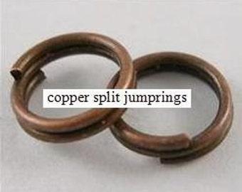 100 copper split jumprings 4mm