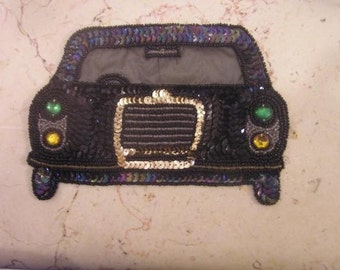 Old stock hand beaded and sequins car , patch , applique
