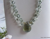 Green Amethyst Necklace with Fluorite Briolette