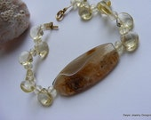 Citrine Quartz with Citrine Gemstone and Agate Bracelet.  Lemon. Yellow. Gold Filled.