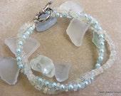Aquamarine and Blue Fresh Water Pearl Bracelet