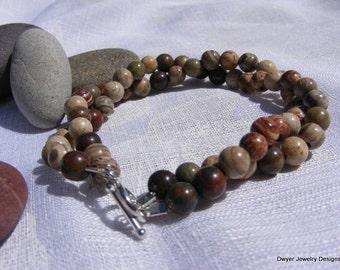 Silver Leaf Bracelet. Multi Color. Sterling Silver.