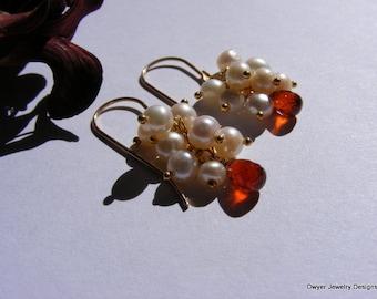 Orange Spessartite Garnet and Fresh Water White Pearl Earrings.